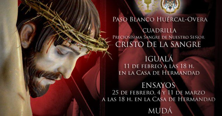 Igualá y calendario de ensayos de la cuadrilla del Cristo de la Sangre