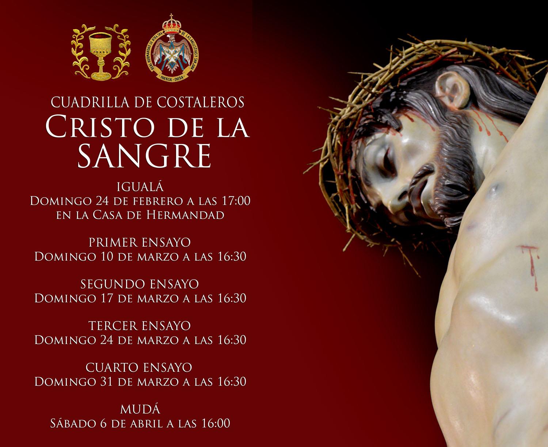 CALENDARIO DE ENSAYOS CUADRILLA DEL CRISTO DE LA SANGRE