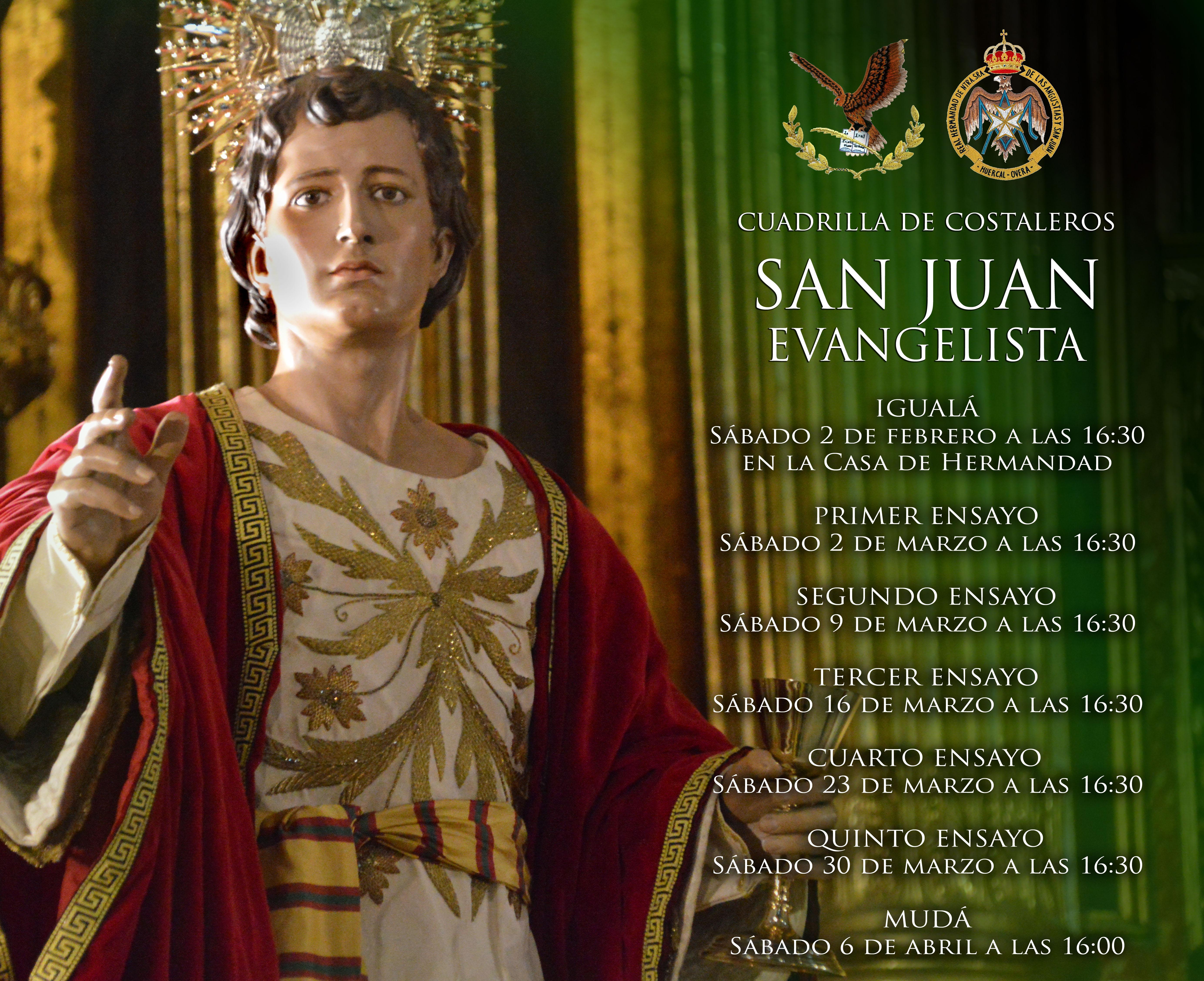 Calendario de ensayos de la cuadrilla de San Juan Evangelista