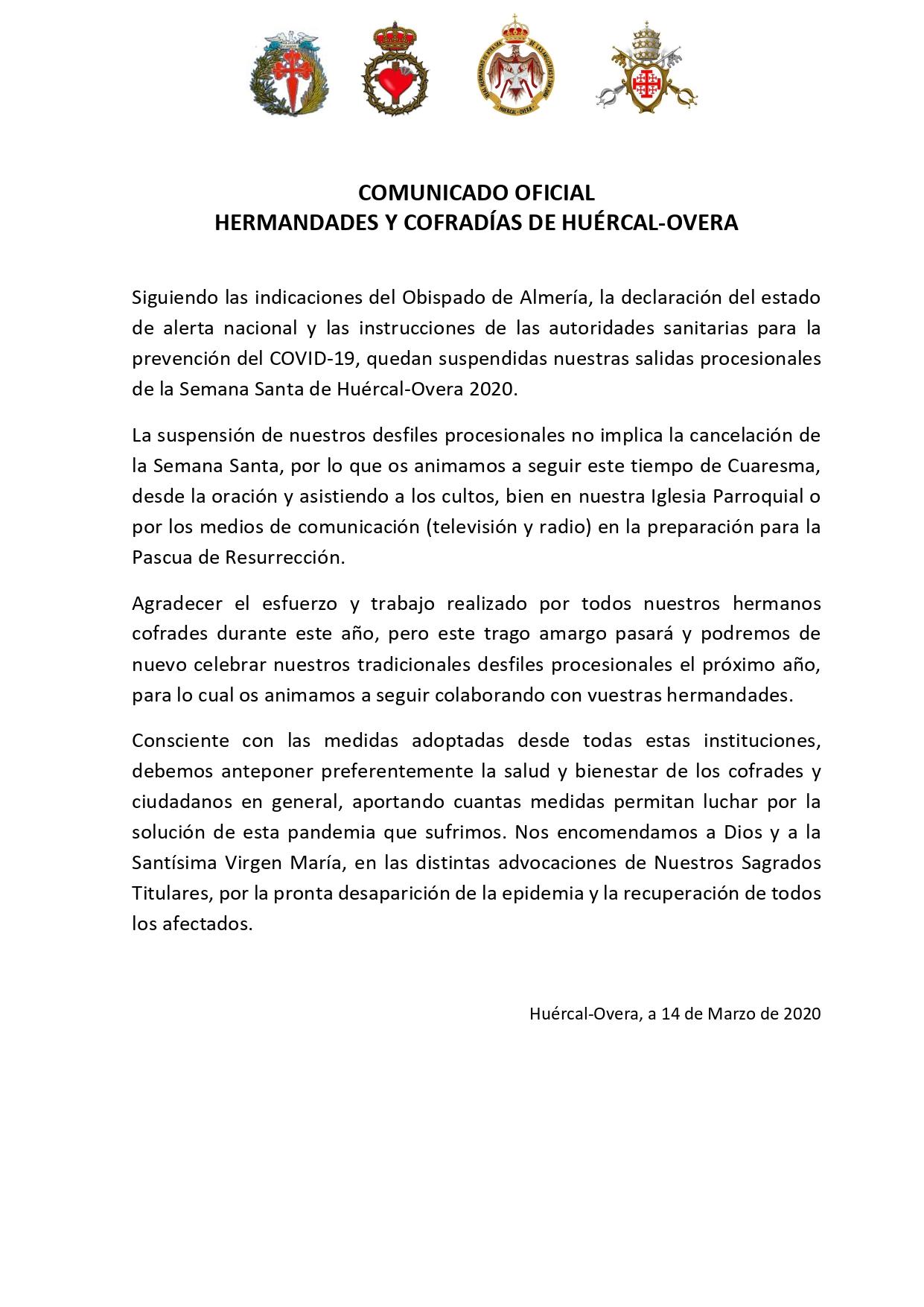 COMUNICADO OFICIAL DE LAS HERMANDADES Y COFRADÍAS DE HUÉRCAL-OVERA