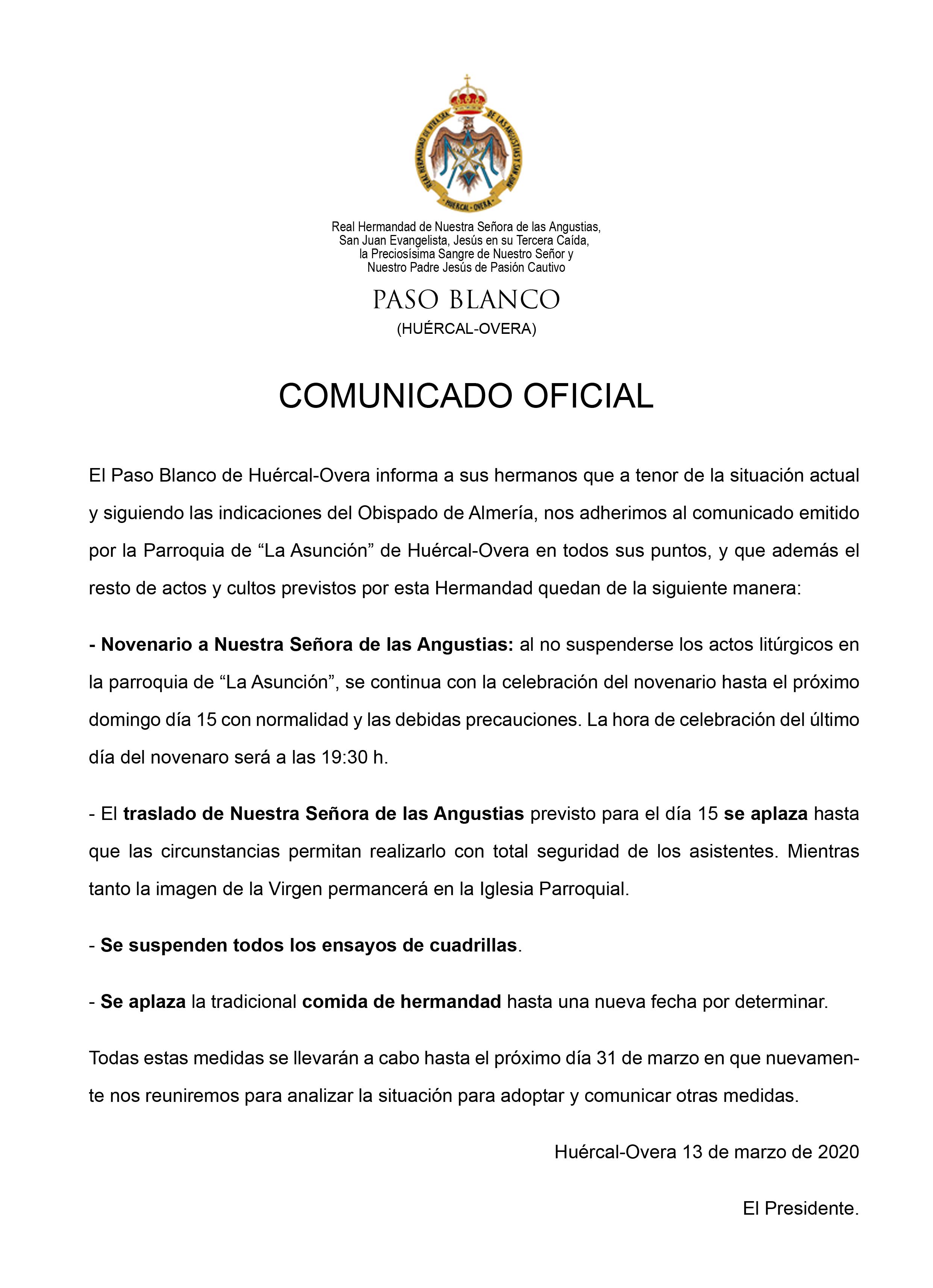 COMUNICADO OFICIAL DEL PASO BLANCO 13 de marzo de 2020