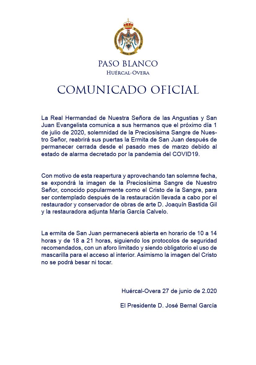 COMUNICADO OFICIAL REAPERTURA DE LA ERMITA DE SAN JUAN